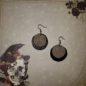 Metallic gold on black earrings